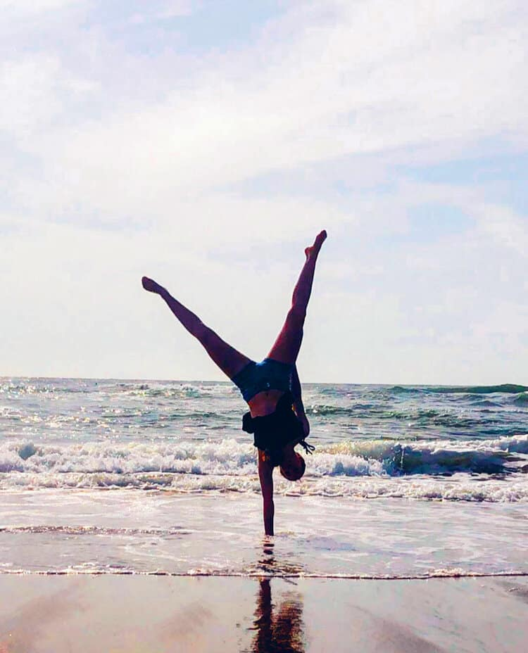 "Angelina T., ""One-Hand Handstand""   Youth Classes Taken:  Aerial, Tumbling   Preschool Classes Taken:  All"